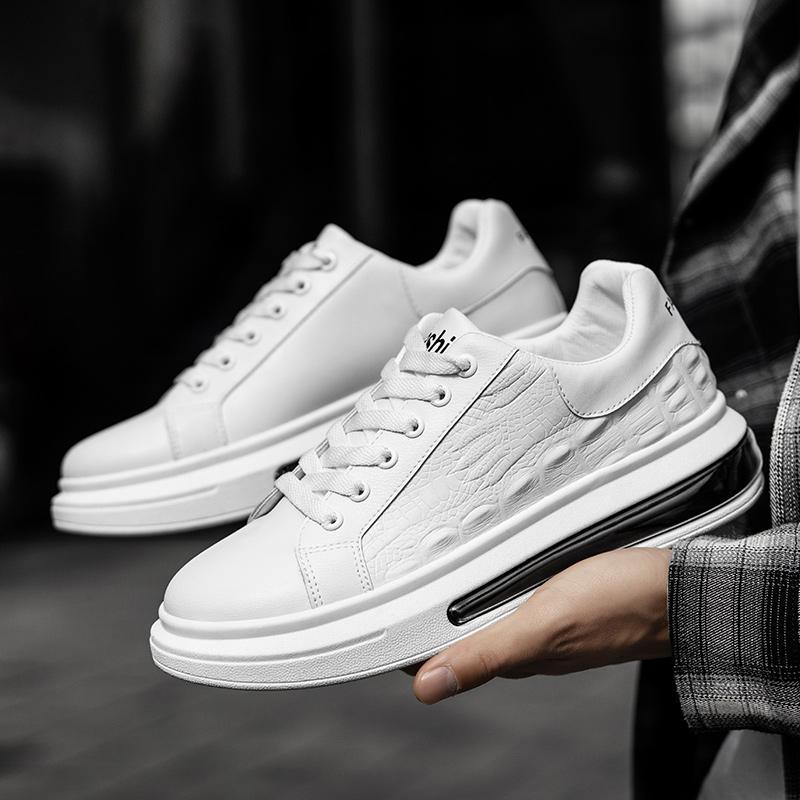 壁龙男鞋2021春季新款男士小白鞋个性鳄鱼纹厚底板鞋潮流气垫男鞋