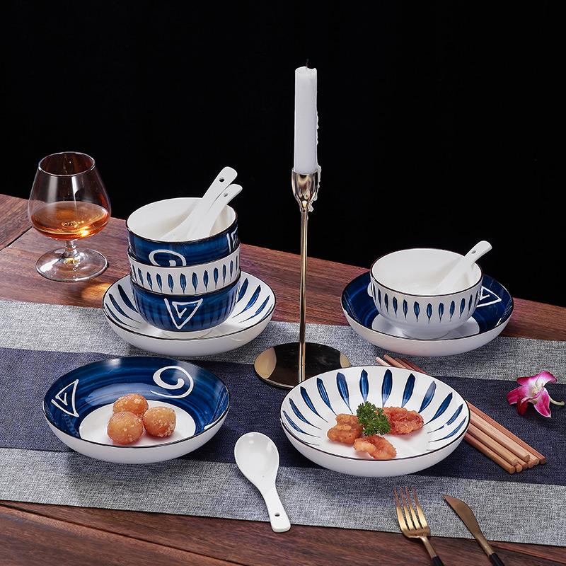 碗碟套装家用碗盘子日式餐具陶瓷碗筷北欧现代简约吃饭碗面碗小碗主图