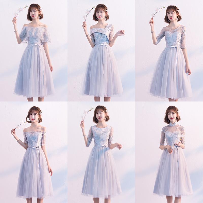 伴娘礼服女2019新款夏季显瘦毕业小礼服裙中长款灰色姐妹团伴娘服