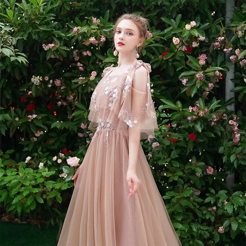 伴娘服2019新款夏季仙气质宴会姐妹团礼服女显瘦中长款演出连衣裙