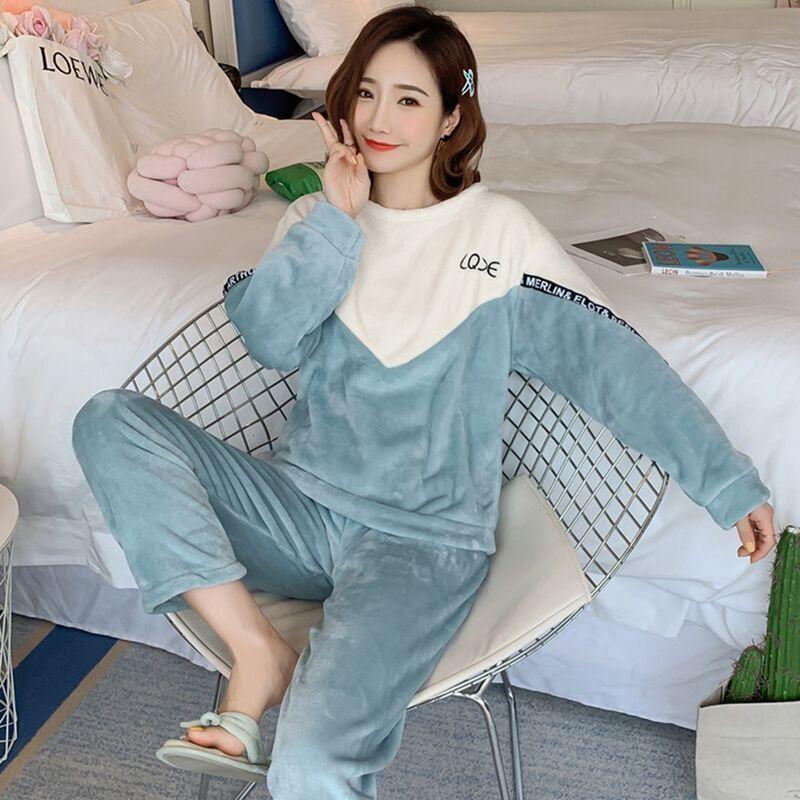 秋冬季珊瑚绒睡衣女长袖韩版加绒加厚韩版可爱学生法兰绒家居套装