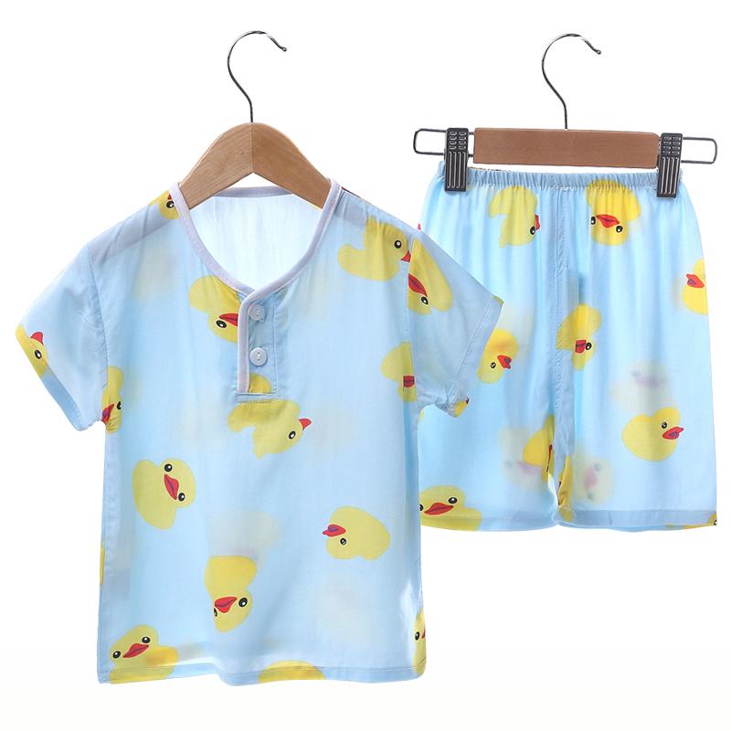 夏季儿童睡衣绵绸短袖套装男童女童宝宝男生纯棉绸薄款空调家居服