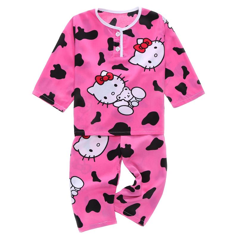 儿童睡衣套装夏季男生宝宝男童女童薄款绵绸纯棉绸家居空调服长袖