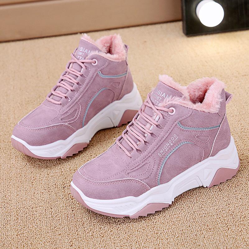反光加绒马丁靴女保暖棉鞋学生短靴百搭靴子