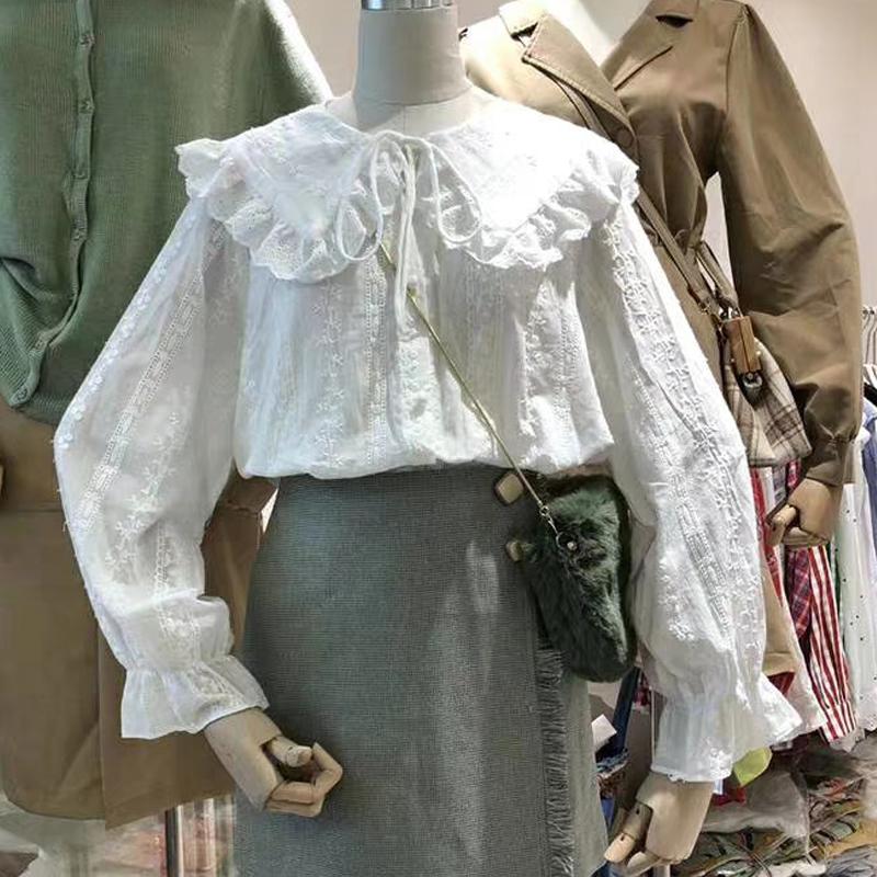 2021秋装新款小清新娃娃领白色衬衫女甜美系带宽松打底衫纯棉上衣