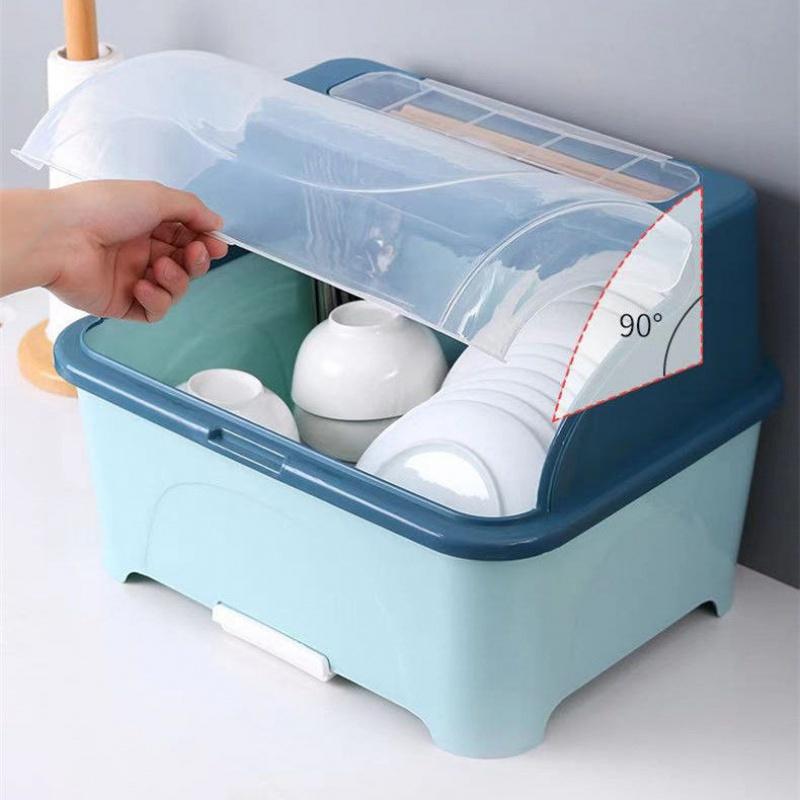 厨房塑料碗柜带盖放碗箱沥水碗架碗筷收纳盒碗碟餐具笼家用置物架