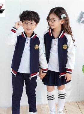 春秋季小学生校h服少女蓝色团体秋款冬季白色诗朗诵服装棉质衬衫