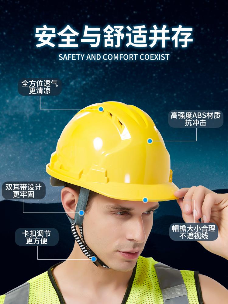 国标工地安全帽透气加厚建筑工程电工施工头帽领导头盔男定做印字