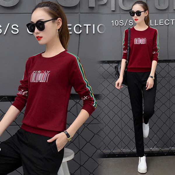 休闲套装女秋2018新款长袖韩版条纹套装长裤休闲两件套运动套装