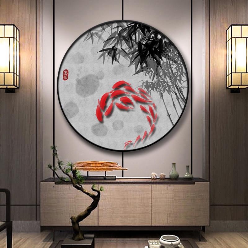圆形新中式装饰画客厅玄关走廊过道壁画风水招财挂画中国风九鱼图