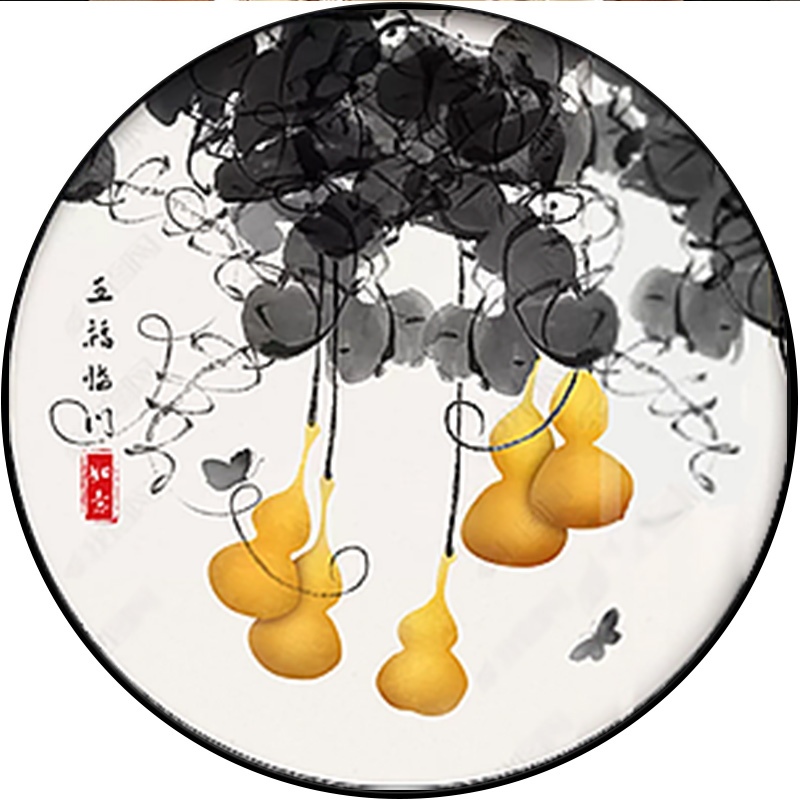 新中式圓形裝飾畫玄關背景墻掛畫書房餐廳壁畫中國風五福臨門葫蘆