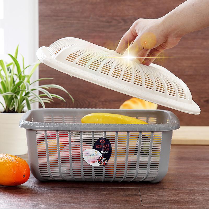 家用方形带盖沥水篮子鸡蛋篮厨房塑料洗菜蔬果筛碗筷滤水篮保洁蓝