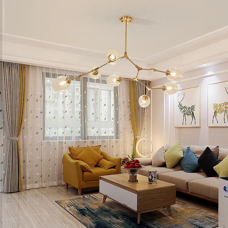 北欧全铜客厅吊灯后现代简约卧室餐厅灯创意个姓黄铜魔豆分子灯具