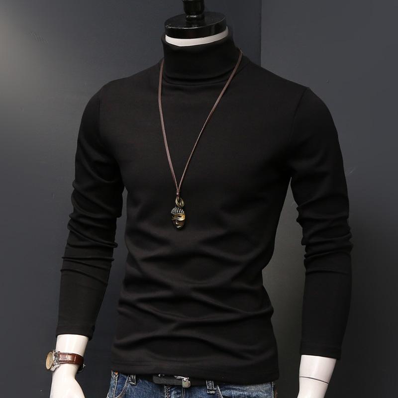 高领打底衫男士长袖t恤纯色秋冬季秋衣服加厚加绒保暖男装上衣潮主图