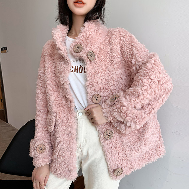 2019 new product stand-up collar particle lamb wool sheep shearing coat pink composite fur one short fur coat