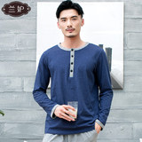 Lan jealous cotton cotton T-shirt single-piece shirt men's spring and autumn long-sleeved hedging XL middle-aged pajamas home service