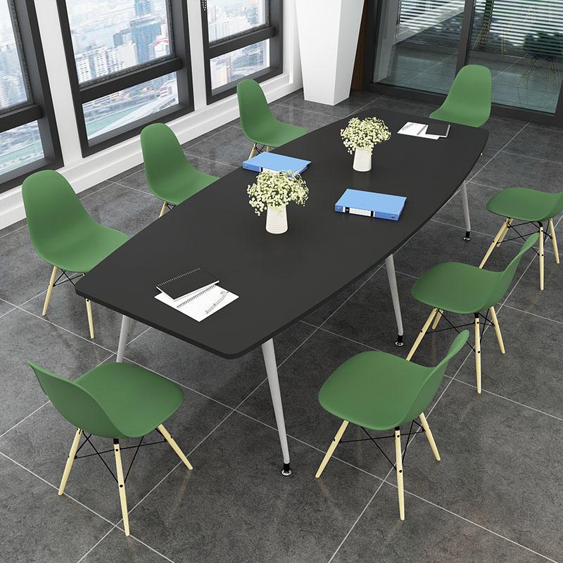 会议桌简约现代椭圆形洽谈接待桌简易长桌职员培训圆桌小型会议桌