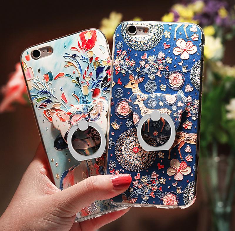 苹果6手机壳女款iphone6透明硅胶软套6Plus可爱6p个性6s支架六i6sp韩国潮牌ins网红抖音同款保护浮雕挂绳指环