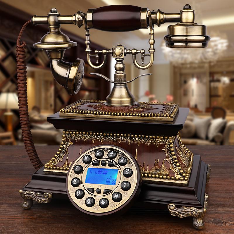 GDIDS仿古电话机欧式复古实木旋转老式客厅家用无线插卡电话座机