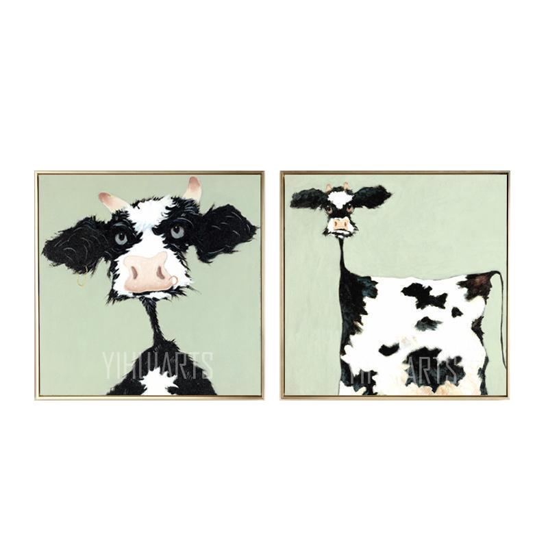 小油畫純手繪動物牛餐廳裝飾畫現代簡約臥室無框畫客廳兒童房掛畫