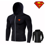 Summer thin male models sport coat hooded zipper jacket windproof outdoor running night-step fitness training cardigan