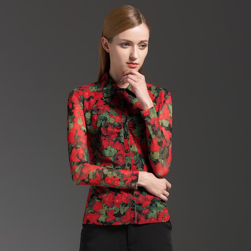 美哥弟 妮亚女装夏装新款2019韩版印花大码显瘦衬衣长袖时尚衬衫
