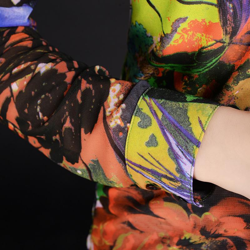 美哥弟 妮亚2019秋新款长袖印花衬衣修身显瘦优雅网纱妈妈装衬衫