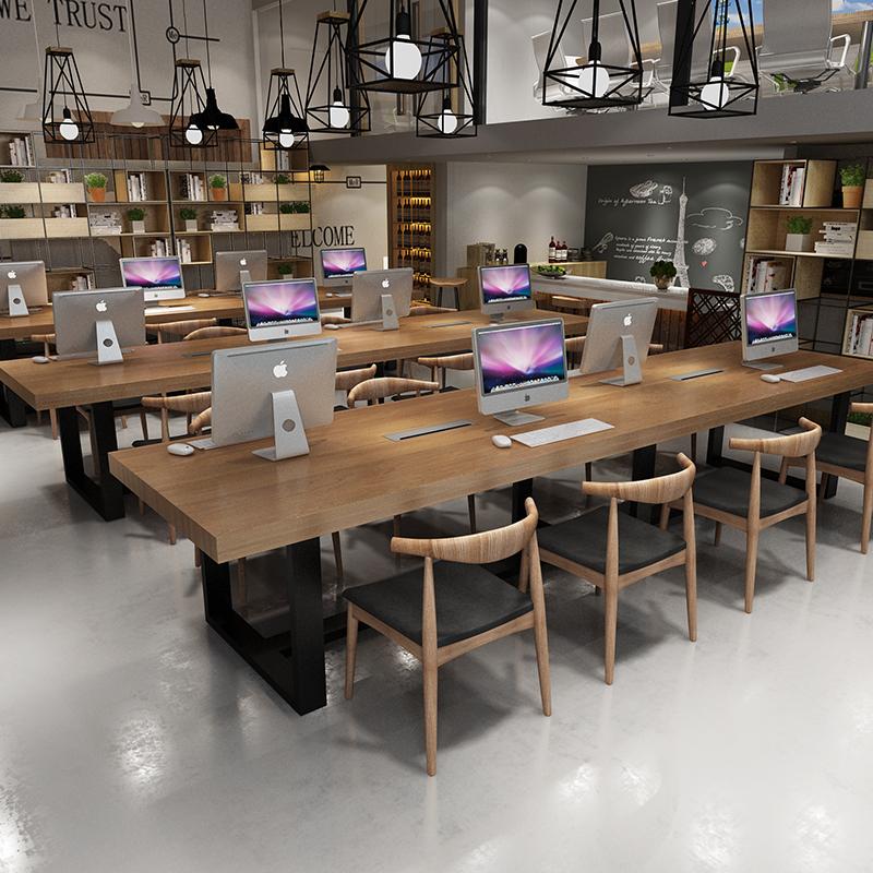 工业风美式实木会议桌长桌loft办公桌电脑桌长条桌培训桌洽谈桌椅