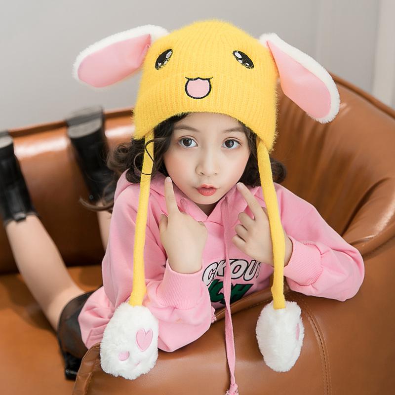 可爱兔子耳朵毛线帽子女抖音同款网红一捏长耳朵会动的儿童气囊帽
