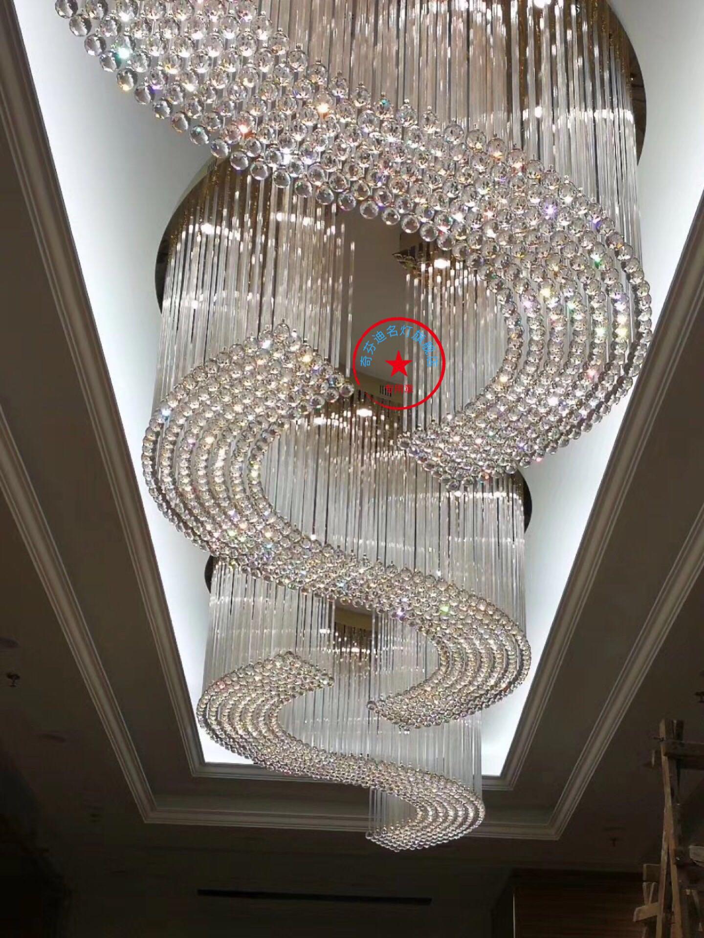 新款非标酒店会所大厅吊灯创意餐厅客厅吊灯玻璃灯方形客厅灯