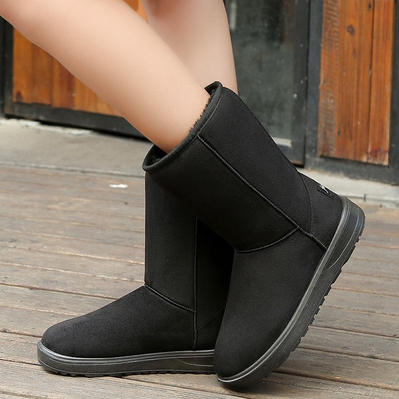 灵琇尔冬季女雪地靴中筒棉鞋女学生潮平跟底防滑加厚毛绒保暖鞋靴