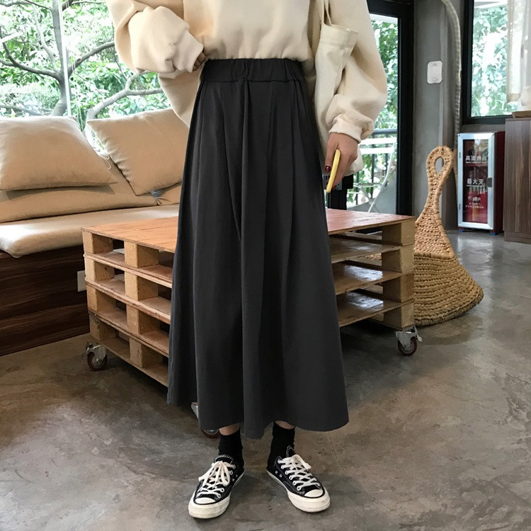 -Style Elastic High-Waisted Dresses Early Autumn New Korean Version of the Long-Style Solid Color Skirt A- Line Dress
