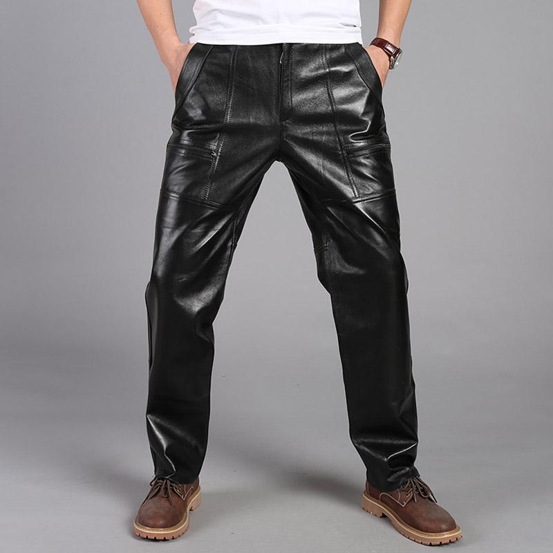 男士牛皮真皮皮裤加棉高腰保暖挡风防寒头层皮真皮中老年厚皮裤