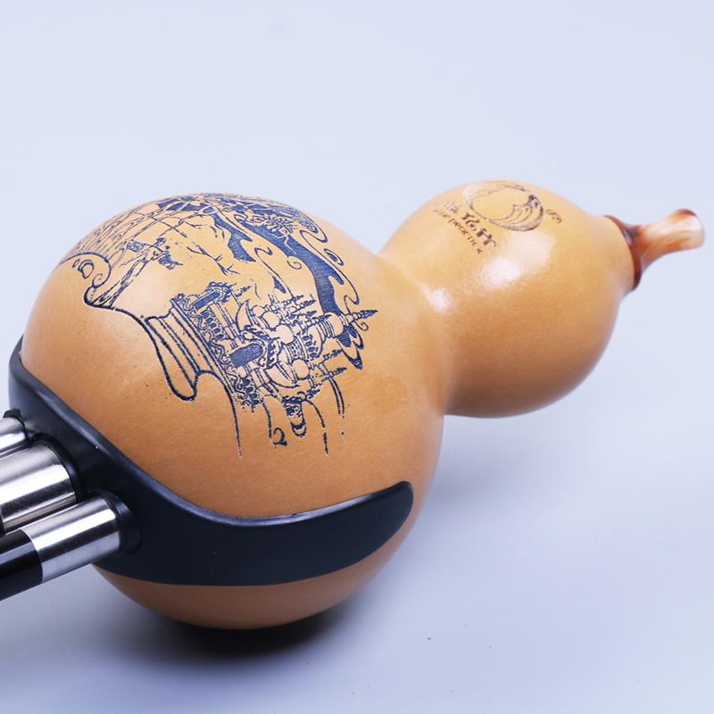 云南乐器专业 调 B 降 调 C 葫芦丝 黑檀经典钢套型 天然 蓝孔雀