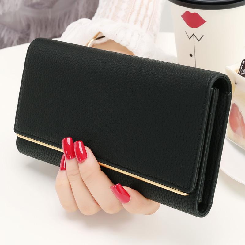 KQueenStar女士錢包 女長款日韓拉鍊簡約薄大容量學生錢夾皮夾子