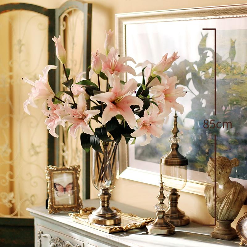 太像真花了!手感保湿百合仿真花艺客厅花瓶盆栽抖音假花束设摆件