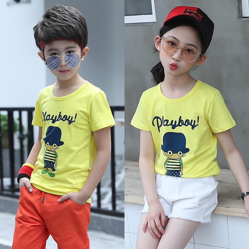 男童女童短袖T恤儿童夏季姐弟夏装中大童2019新款兄妹半袖童装潮