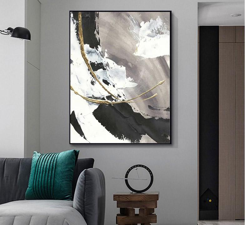 黑白油画抽象手绘浪花大副玄关装饰画客厅沙发背景墙挂画走廊壁画