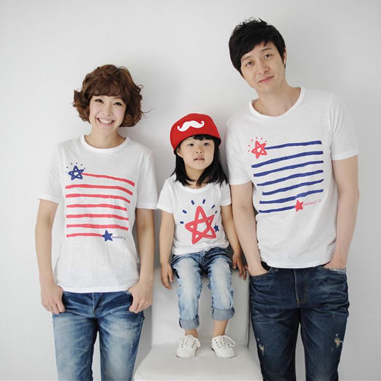 【2件包郵】2018新款夏裝 韓版一家三口星星條紋全棉短袖T恤親子