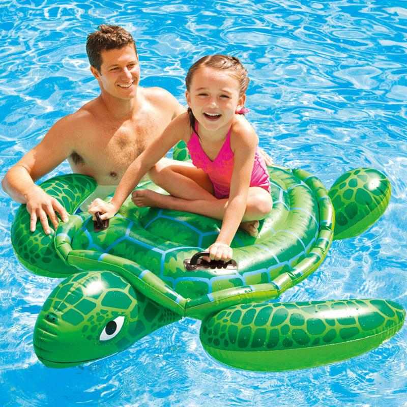 INTEX水上充氣兒童游泳圈成人小海龜坐騎浮床浮排游泳裝備