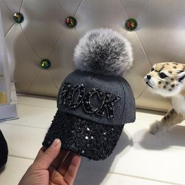 韩版呢子棒球帽女秋冬天加厚保暖狐狸毛球鸭舌帽时尚百搭女士帽子