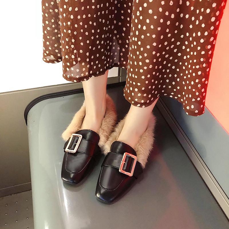 妮西蝶毛毛鞋豆豆鞋秋冬季2018新款韩版百搭平跟平底加绒大码女鞋