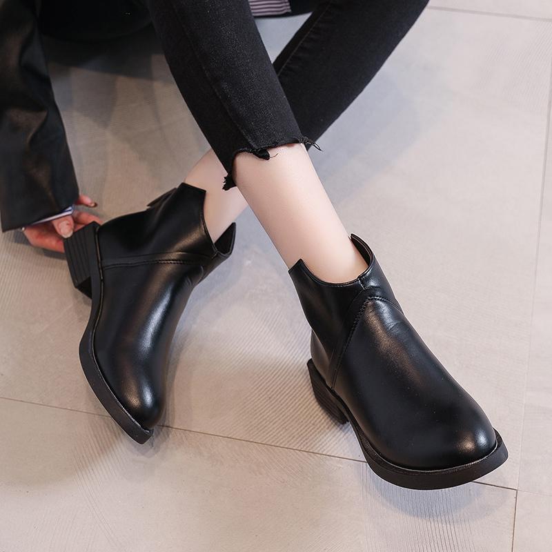 秋冬新款加绒女靴子裸靴单靴马丁靴女英伦风 2019 妮西蝶短靴女平底