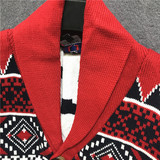 hiphop influx of goods winter loose knit cardigan men sweater jacquard embroidered Japanese retro male casual jacket tide