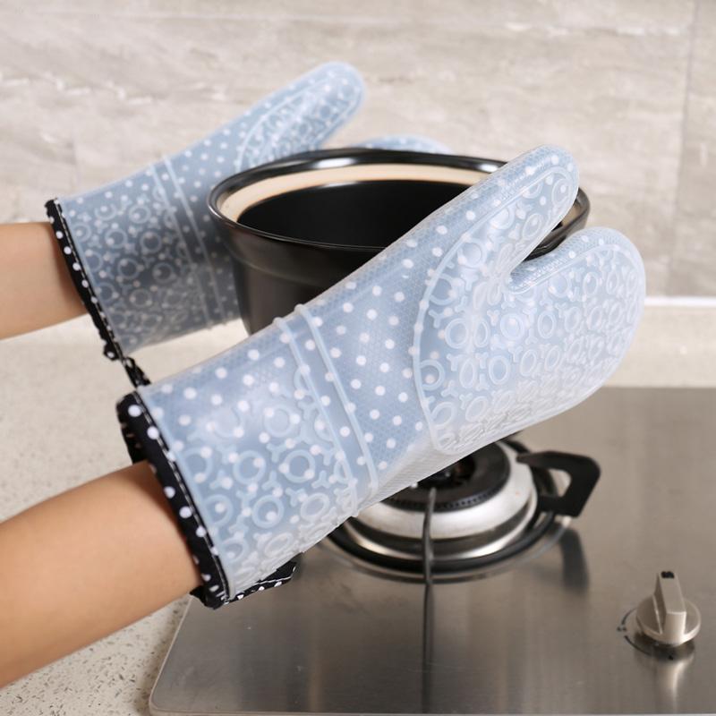 加厚硅胶布高温家用微波炉手套日本厨房烘焙烤箱防烫隔热手套