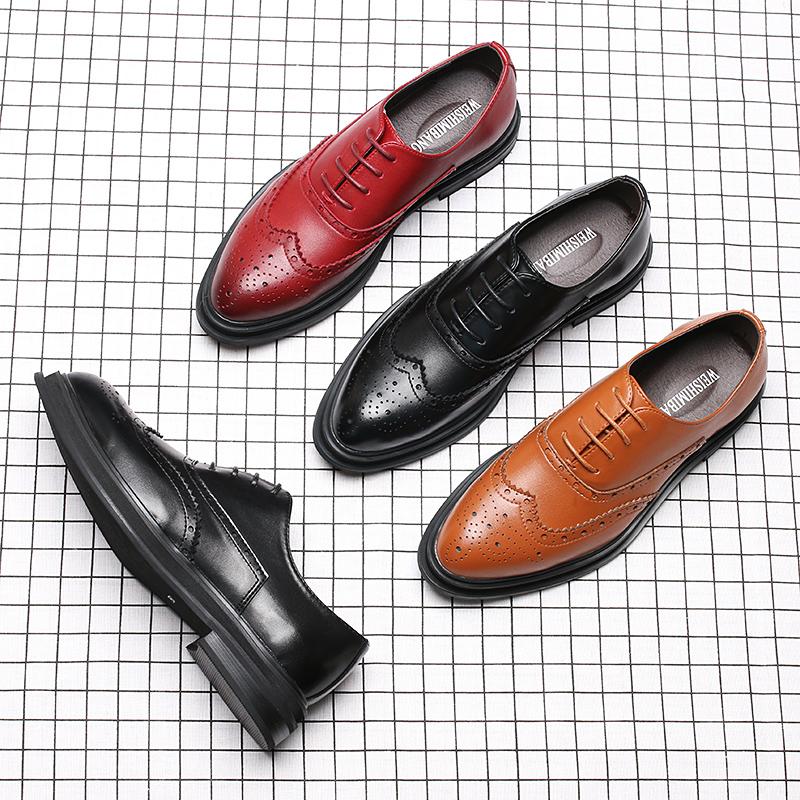 秋季布洛克男鞋韩版英伦潮鞋休闲商务正装皮鞋男士尖头黑色婚礼鞋
