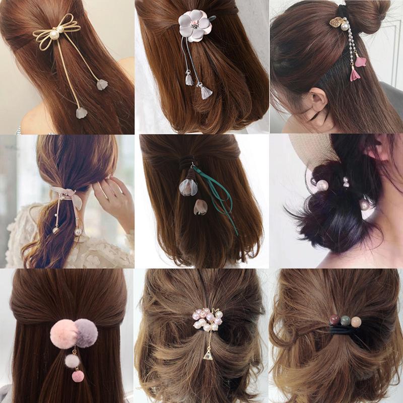 韩国可爱发圈星空头绳橡皮筋皮套扎头绳成人发饰品长飘带发绳头饰