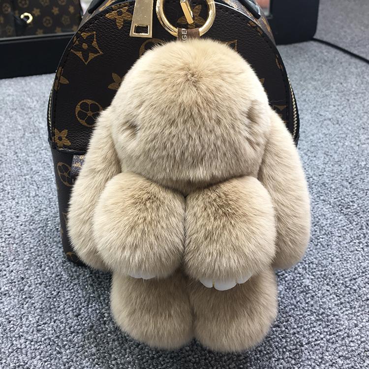 正版装死挂饰兔皮草小兔子饰品包包书包超萌毛绒兔挂件汽车钥匙扣