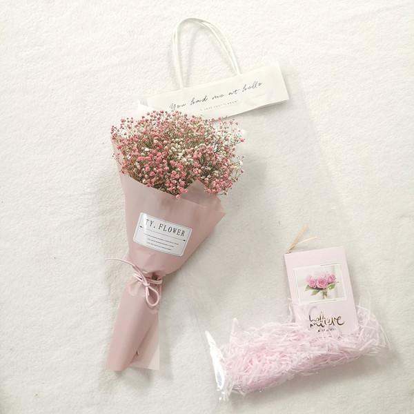 【创意手提袋礼品】天然勿忘我满天星干花花束真花客厅装饰摆件小 - 图1