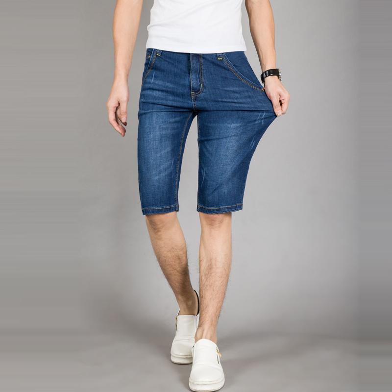 夏季薄款高弹力牛仔短裤男青年五分裤修身直筒大码5分中裤潮马裤